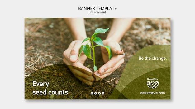 Тема шаблона баннера с концепцией окружающей среды Бесплатные Psd