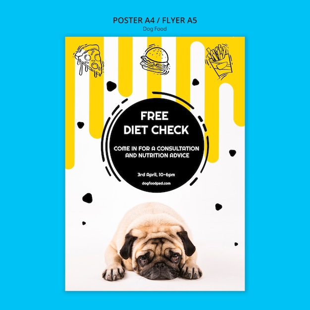 Красочный плакат квадратный корм для собак Бесплатные Psd