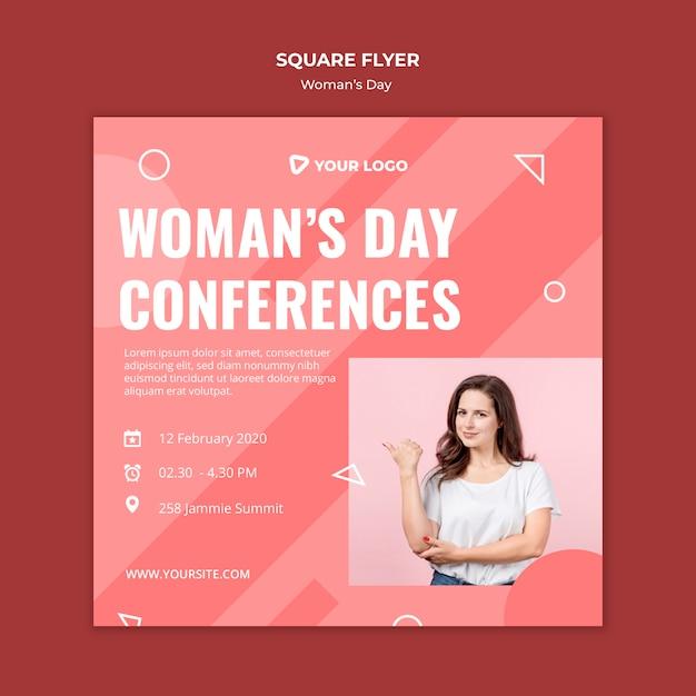 Квадратный флаер шаблон для женского дня Бесплатные Psd