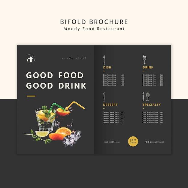 おいしい食べ物と飲み物の二つ折りパンフレット 無料 Psd