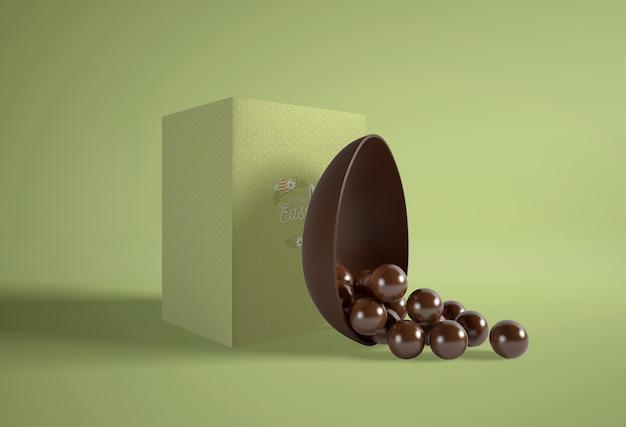 チョコレートの卵とグリーンボックス 無料 Psd