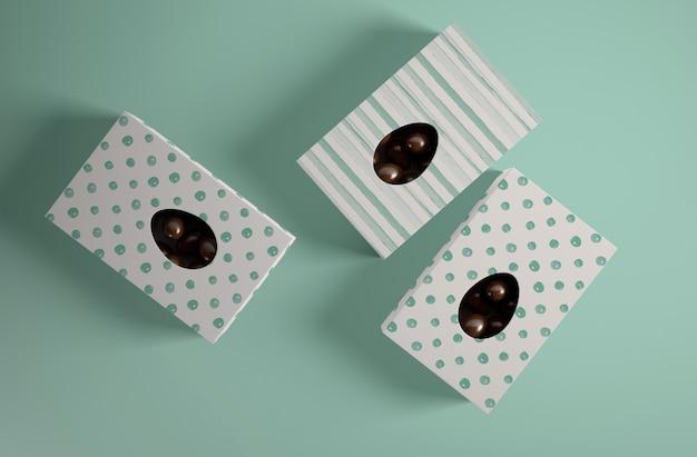 チョコレートの卵のトップビューボックス 無料 Psd