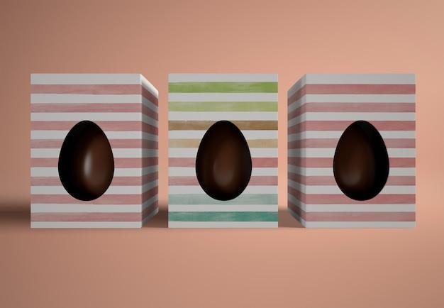 ボックスにフラットレイアウトチョコレートの卵 無料 Psd