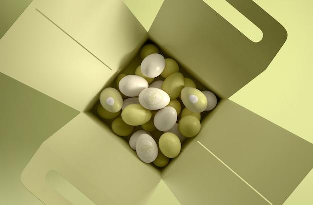 白と緑の卵とフラットレイアウトボックス 無料 Psd