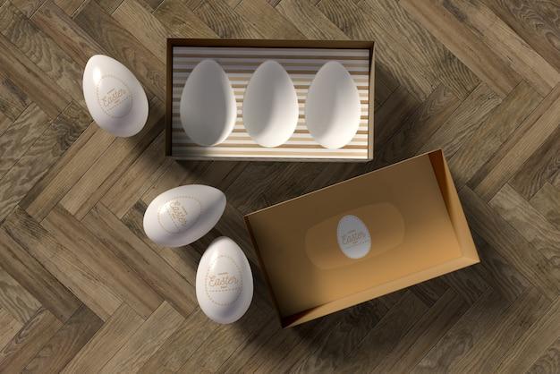 卵の横にあるトップビュー弓 無料 Psd