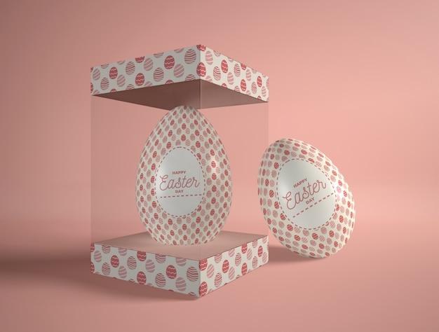イースターエッグと高角度透明ボックス 無料 Psd