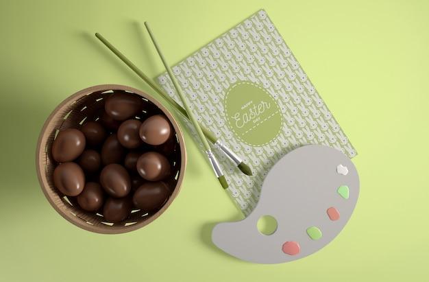チョコレートの卵とトップビュー弓 無料 Psd