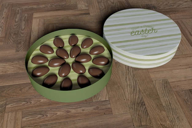 チョコレートエッグとハイアングルボックス 無料 Psd