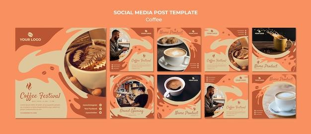 コーヒーコンセプトソーシャルメディア投稿テンプレートモックアップ 無料 Psd