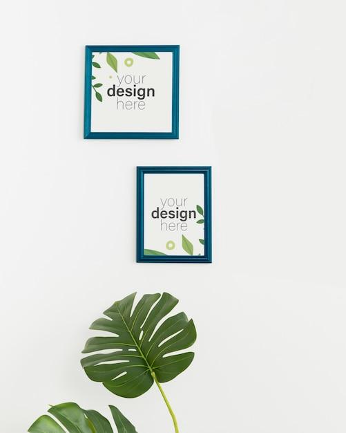 Рамки макета вид спереди на белой стене Бесплатные Psd