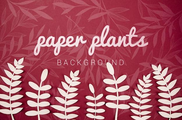 シダの葉と紙植物の背景 無料 Psd