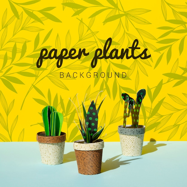 ポットの背景を持つ熱帯紙サボテン植物 無料 Psd