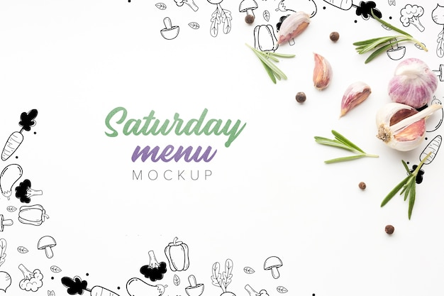 ガーリックモックアップを備えた料理の土曜日メニュー 無料 Psd