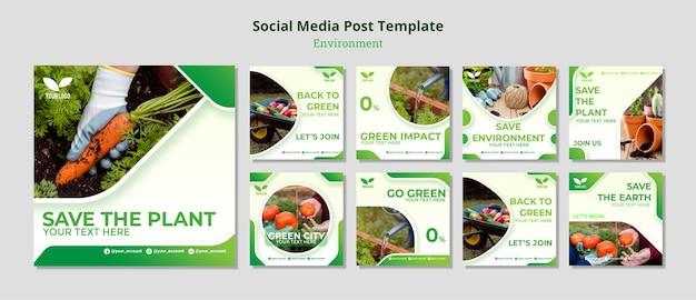 Экологическая переработка и повторное использование постов в социальных сетях Бесплатные Psd