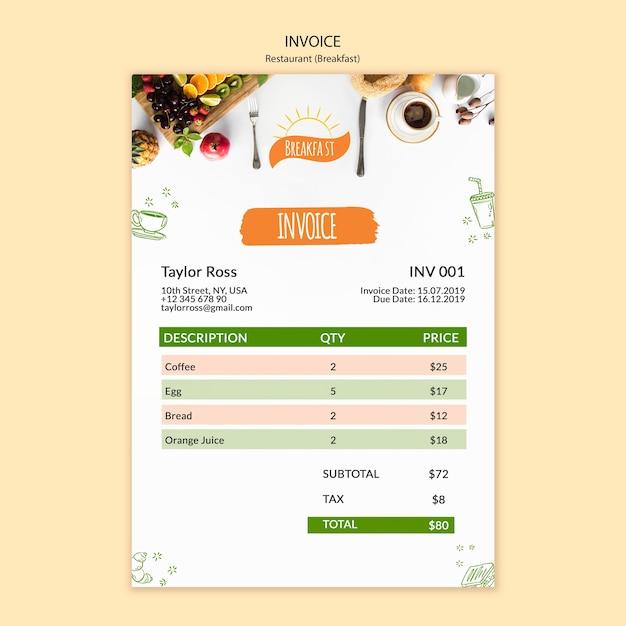 朝の朝食レストランの請求書テンプレート 無料 Psd