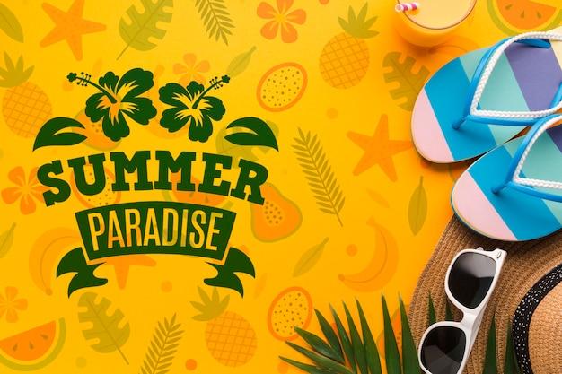 トップビュー夏の楽園のモックアップコンセプト 無料 Psd