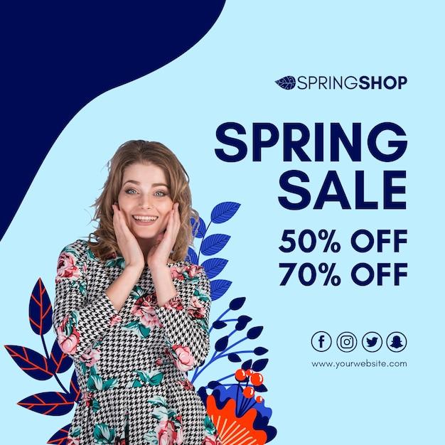 女性と葉の春セールスクエアチラシ 無料 Psd