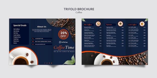 コーヒーのコンセプトのパンフレットテンプレート 無料 Psd
