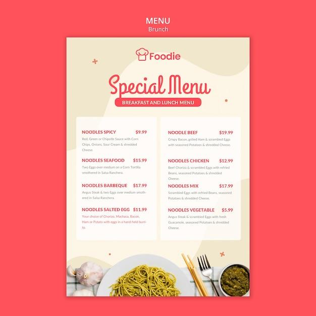 レストランのリストを持つメニューテンプレート 無料 Psd