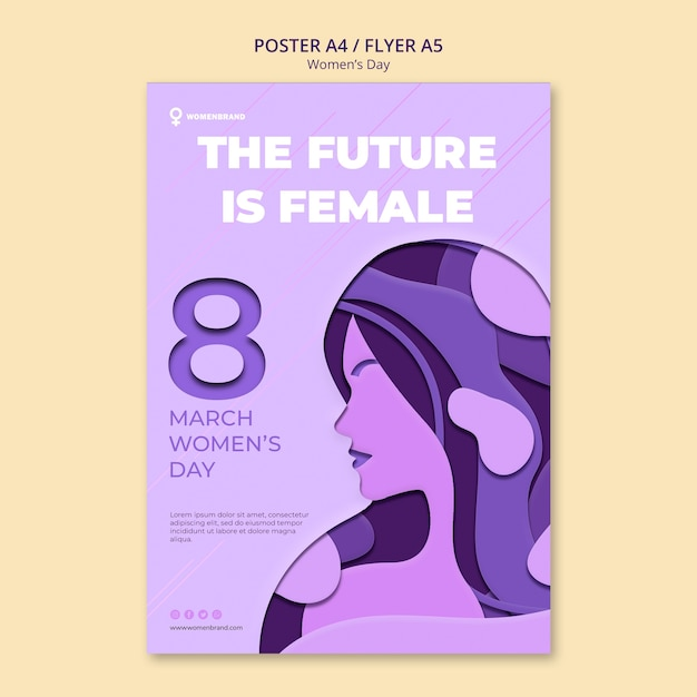 Будущее женского женского дня постер шаблон Бесплатные Psd