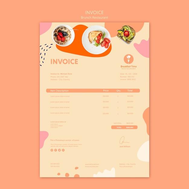 Дизайн накладной для бранч-ресторана Бесплатные Psd