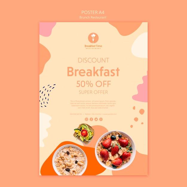 Дизайн плаката для завтрака супер предложение Бесплатные Psd