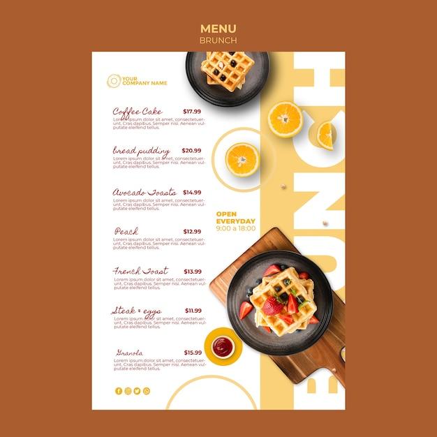 Шаблон меню с темой позднего завтрака Бесплатные Psd