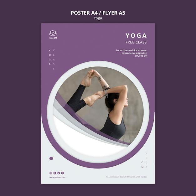 Шаблон постера с концепцией йоги Бесплатные Psd
