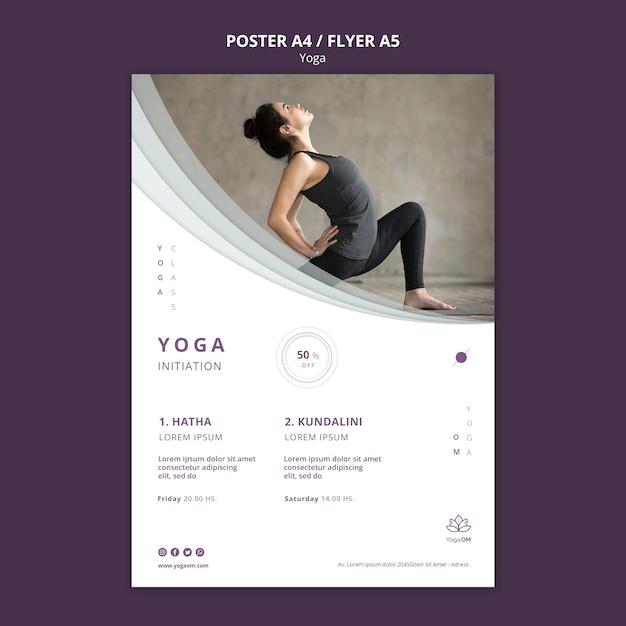 Шаблон постера с дизайном йоги Бесплатные Psd