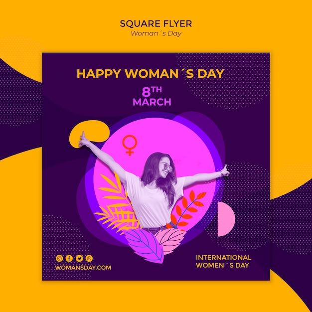 Счастливая женщина и оставляет женский день квадратный флаер Бесплатные Psd
