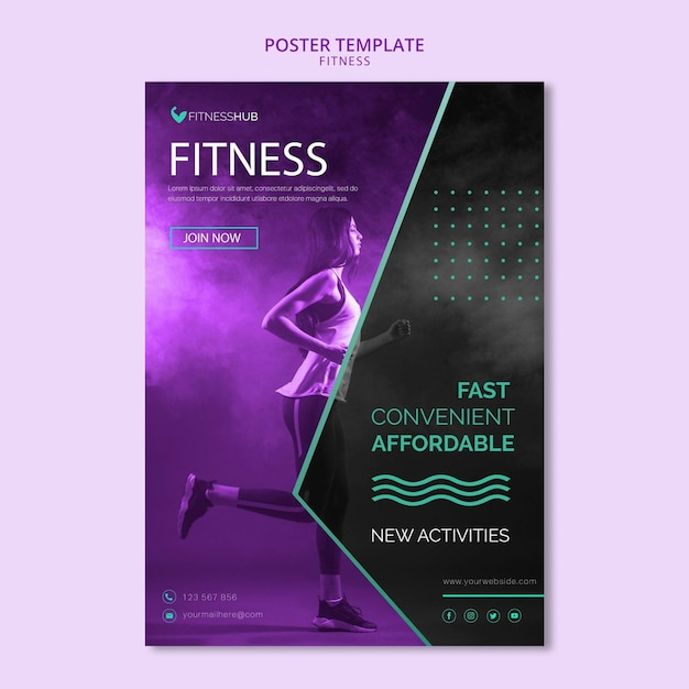 Шаблон плаката концепции фитнеса Бесплатные Psd