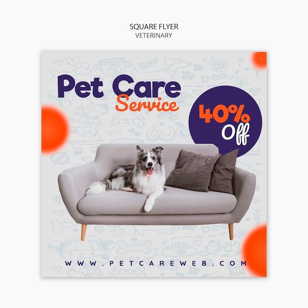 ソファの上に犬と一緒にペットの世話のための正方形のチラシテンプレート 無料 Psd