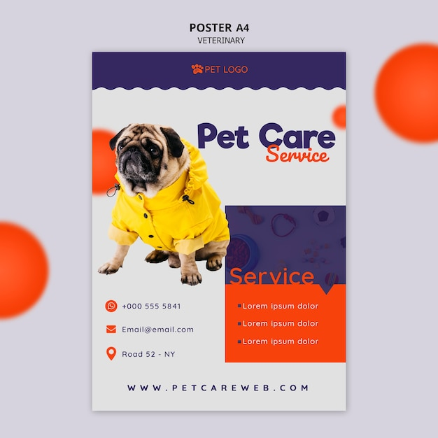 Шаблон постера по уходу за животными с собакой Бесплатные Psd