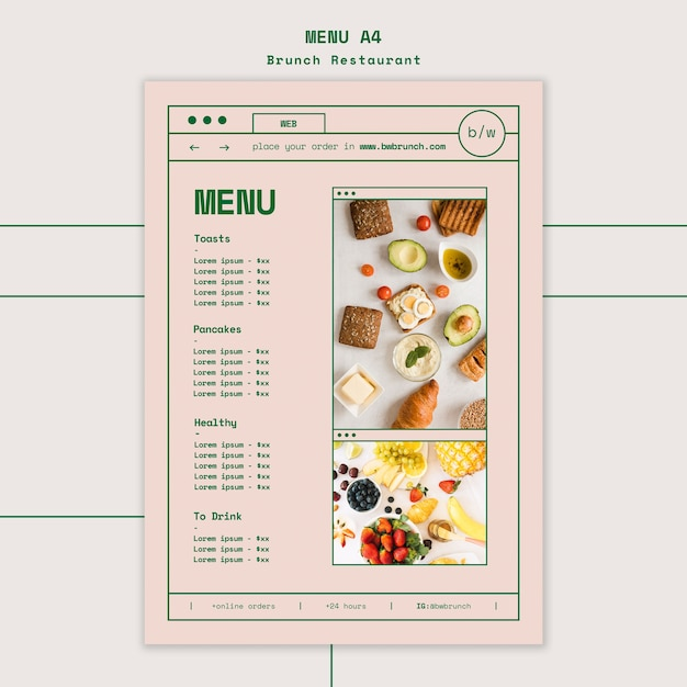 Бранч шаблон меню ресторана Бесплатные Psd