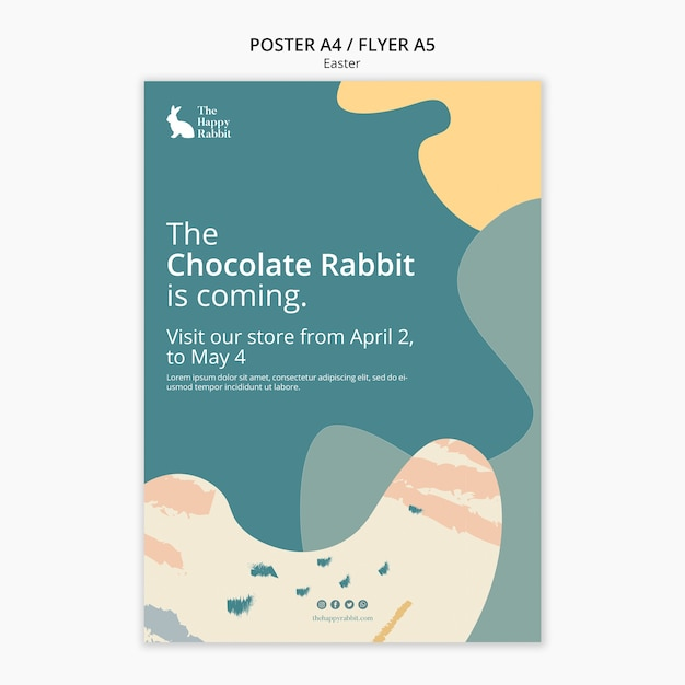 チョコレートウサギイベントのポスターデザイン 無料 Psd