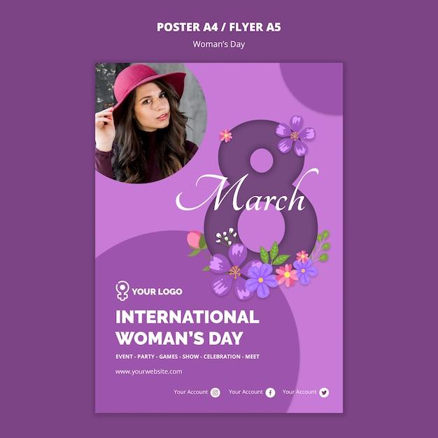 Женщина с шляпой женский день флаер шаблон Бесплатные Psd