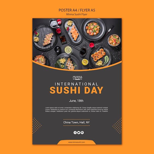 国際寿司デーのチラシ 無料 Psd