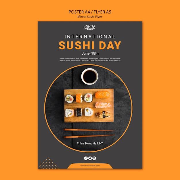 国際寿司デーのチラシテンプレート 無料 Psd