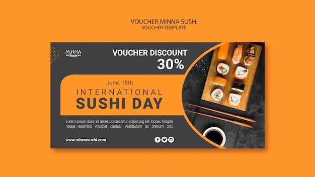 国際寿司デーのバウチャーテンプレート 無料 Psd