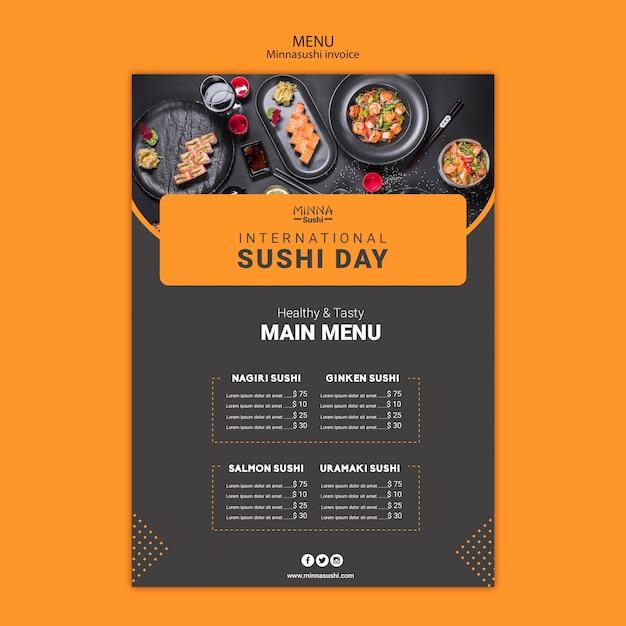 国際寿司デーのメニューテンプレート 無料 Psd