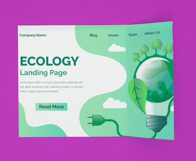 Экологический макет целевой страницы Бесплатные Psd