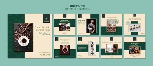コーヒーショップバナーソーシャルメディアポストパック 無料 Psd
