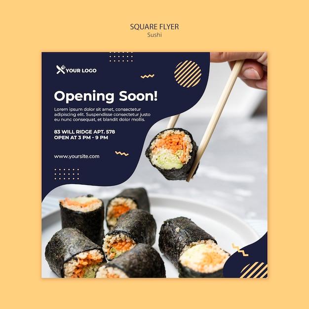 寿司コンセプトスクエアチラシテンプレート 無料 Psd