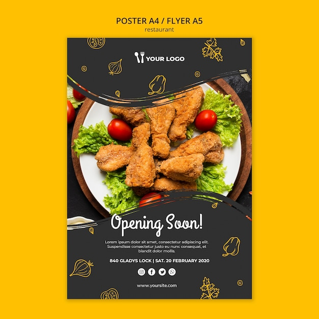 Шаблон плаката ресторана Бесплатные Psd