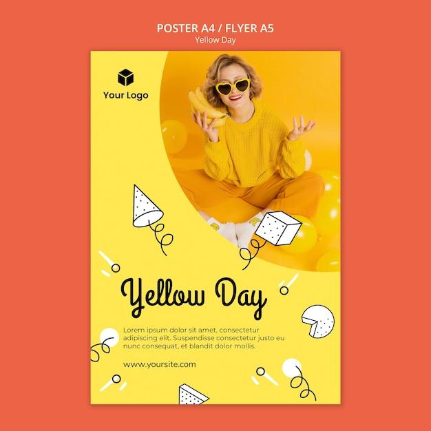Флаер с темой желтого дня Бесплатные Psd