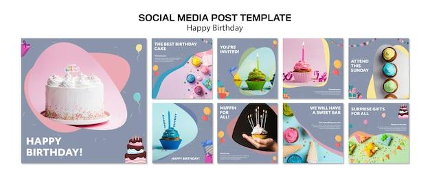 С днем рождения шаблон поста в социальных сетях Бесплатные Psd