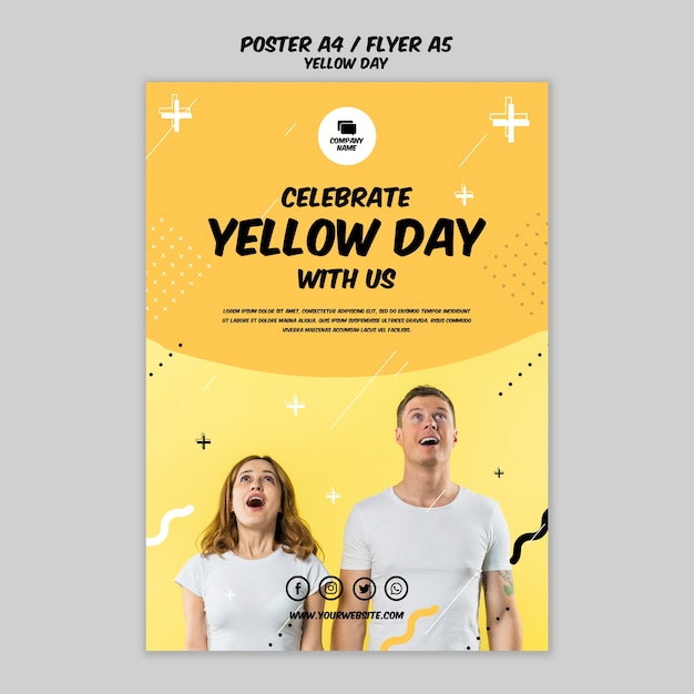 Плакат с концепцией желтого дня Бесплатные Psd