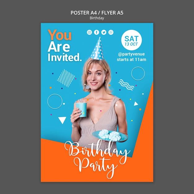 Шаблон плаката на день рождения Бесплатные Psd