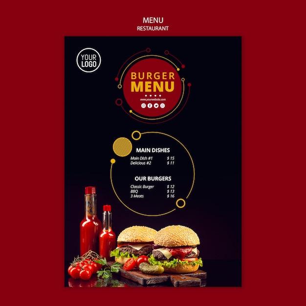 Шаблон меню для ресторана Бесплатные Psd