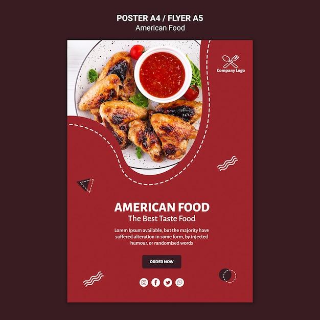 アメリカ料理のポスターテンプレート 無料 Psd